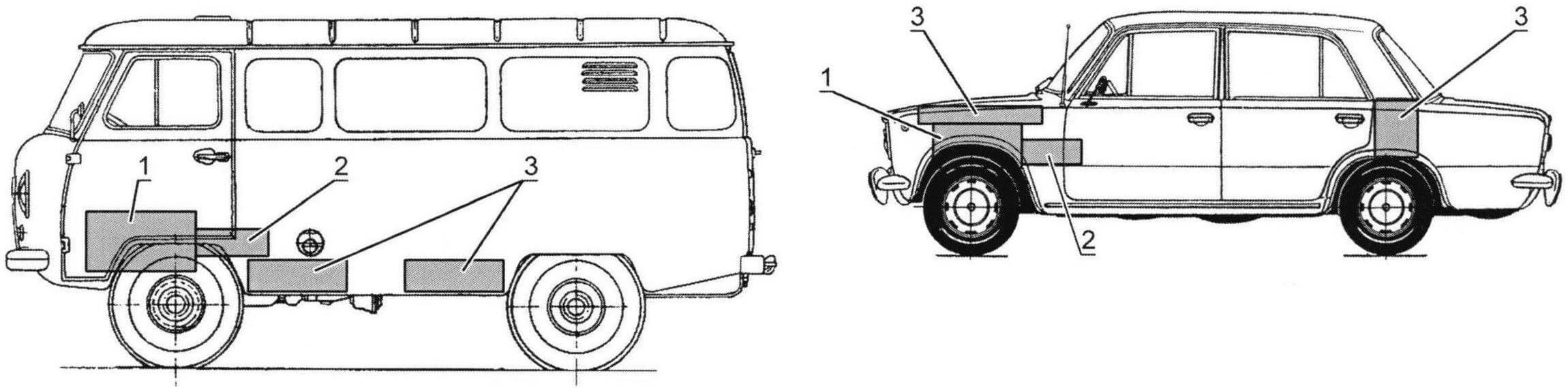 Схема расположения основных узлов электромобиля на базе заднеприводного седана и электромобиля вагонной компоновки