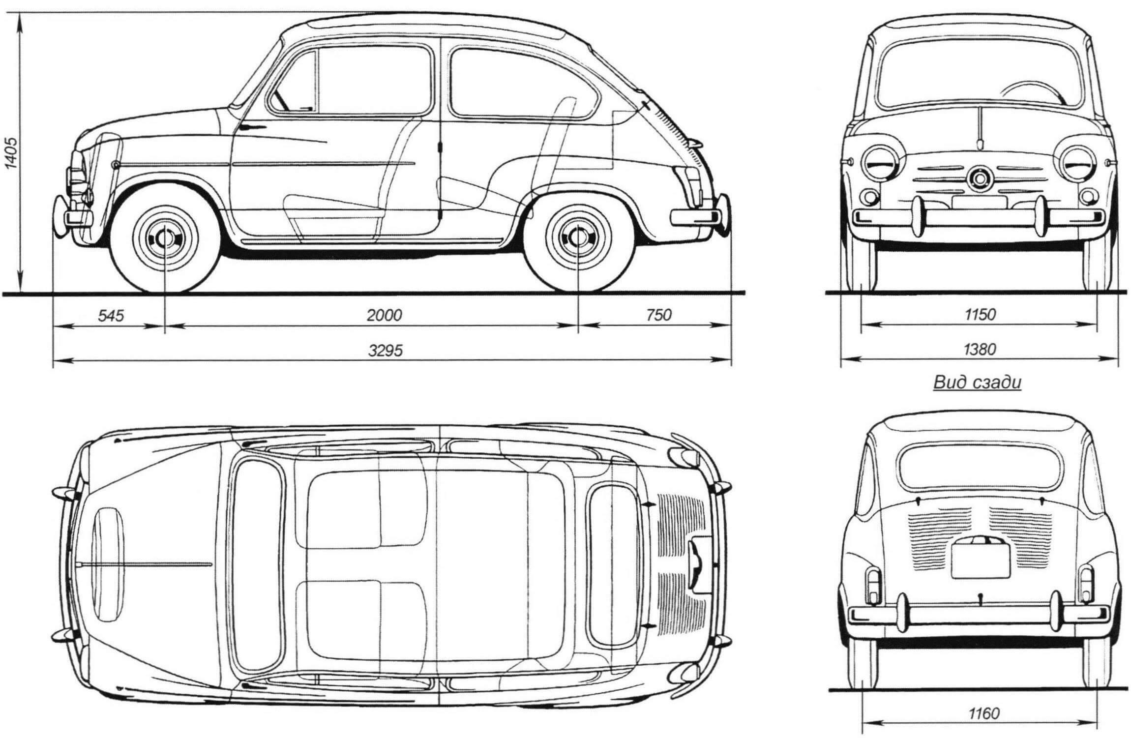 Габаритный чертеж автомобиля Fiat 600 D