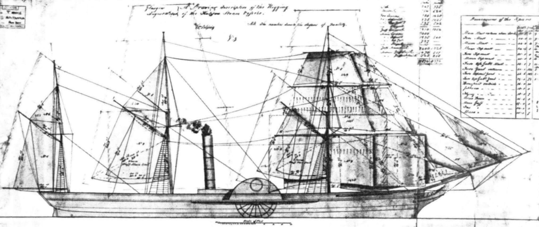 Парусное вооружение «Британнии» (копия подлинного чертежа)