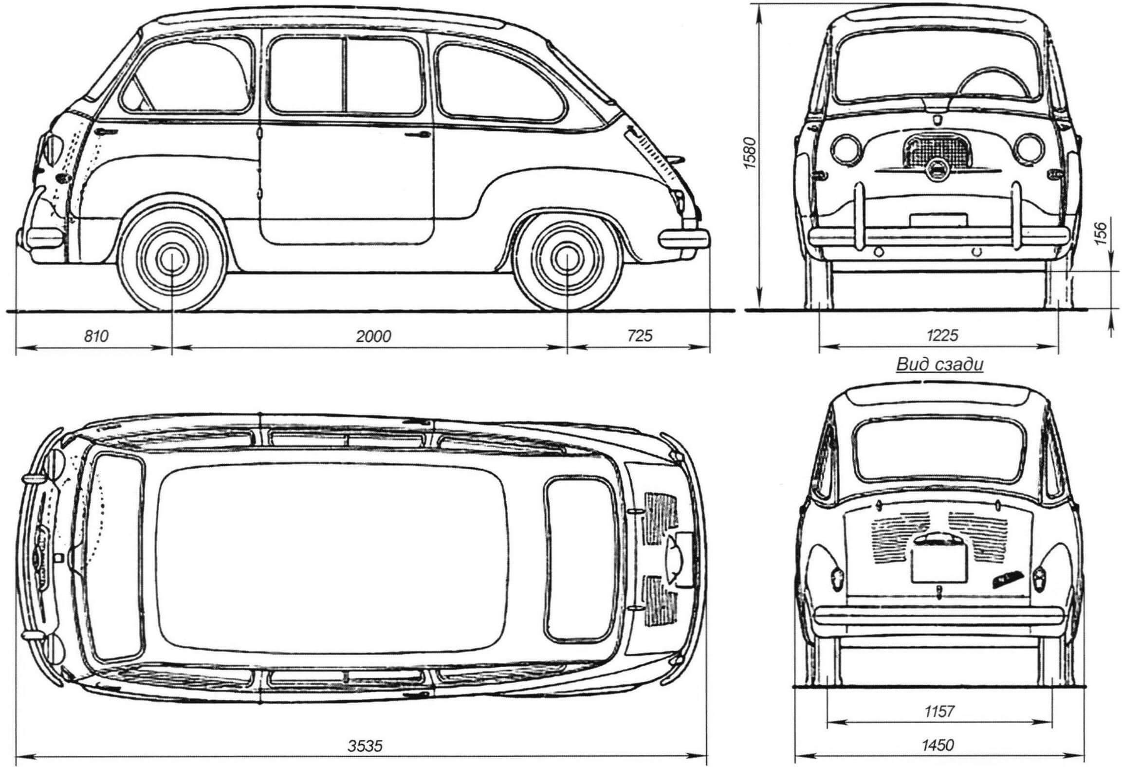Габаритный чертеж автомобиля Fiat 600 Multiple