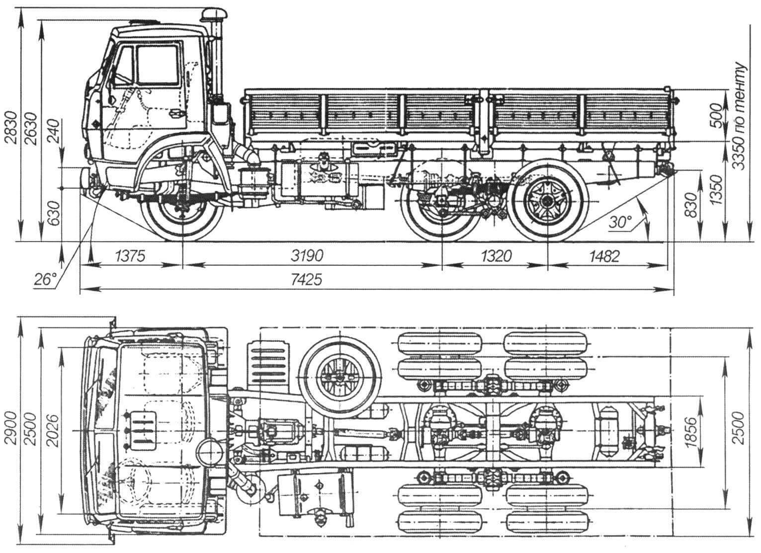 Габаритный чертеж автомобиля КАМАЗ-5320