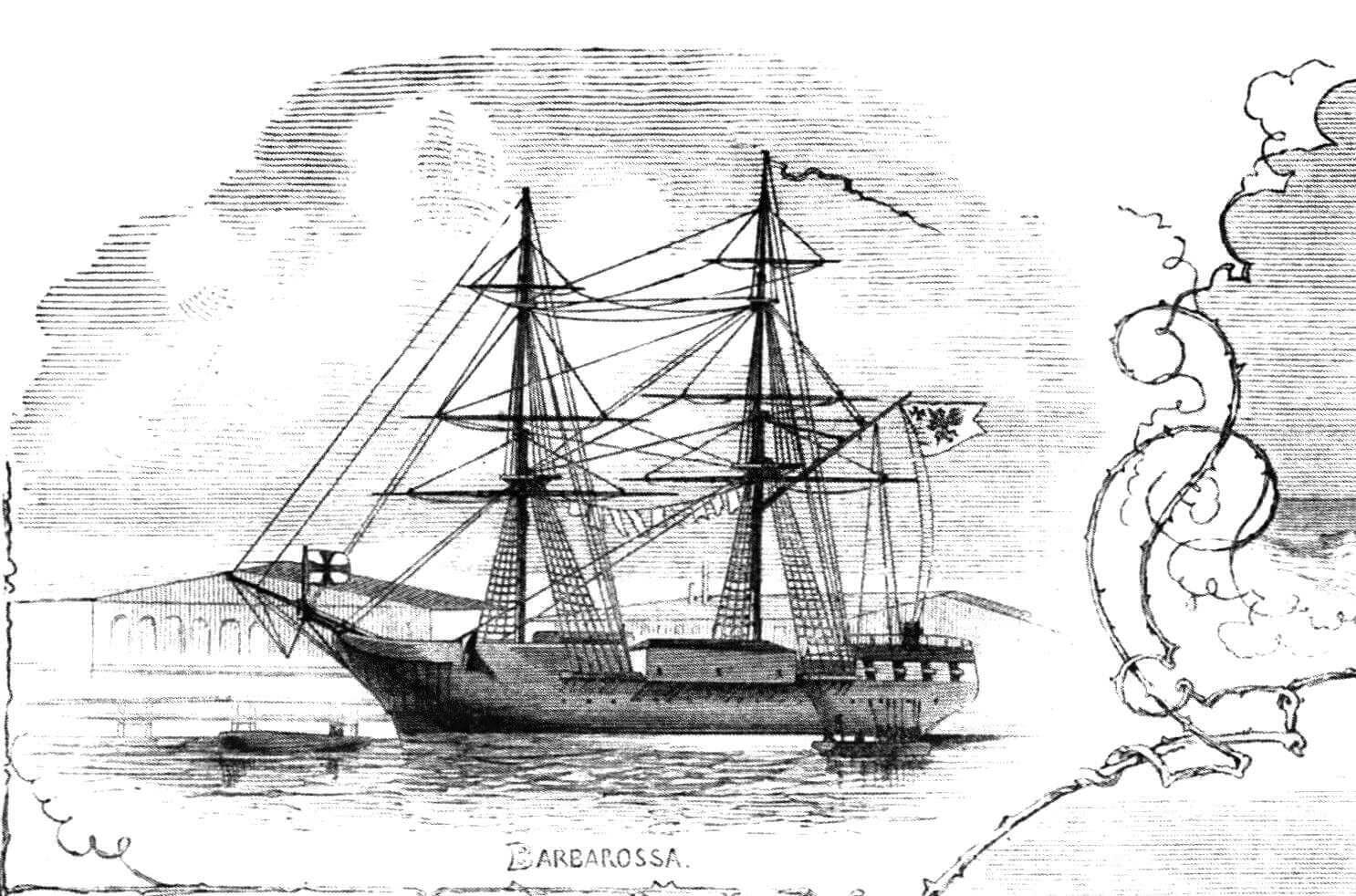 Бывшим лайнер-трансатлантик и бывший флагманский фрегат «Барбаросса»- блокшив и плавказарма. Труба уже отсутствует, но такелаж еще не демонтирован