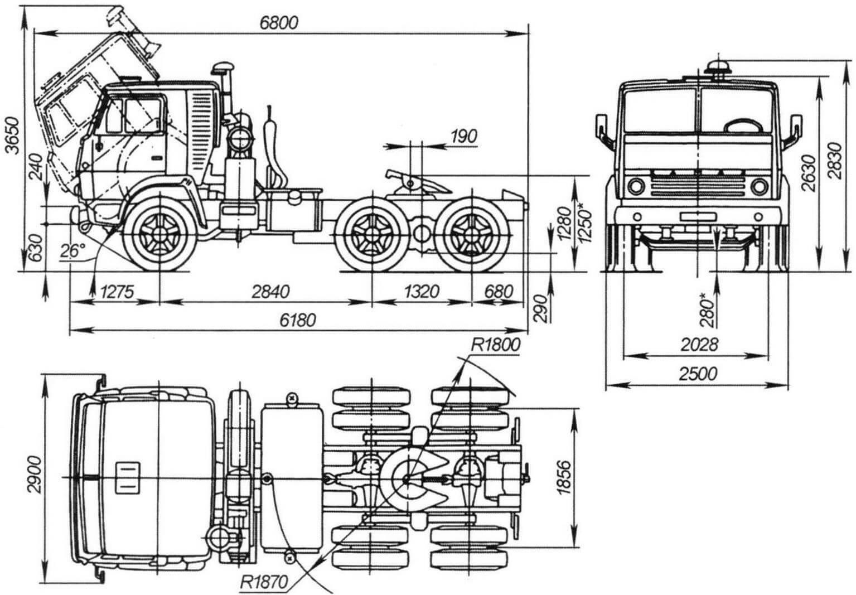 Габаритный чертеж автомобиля КАМАЗ-5410