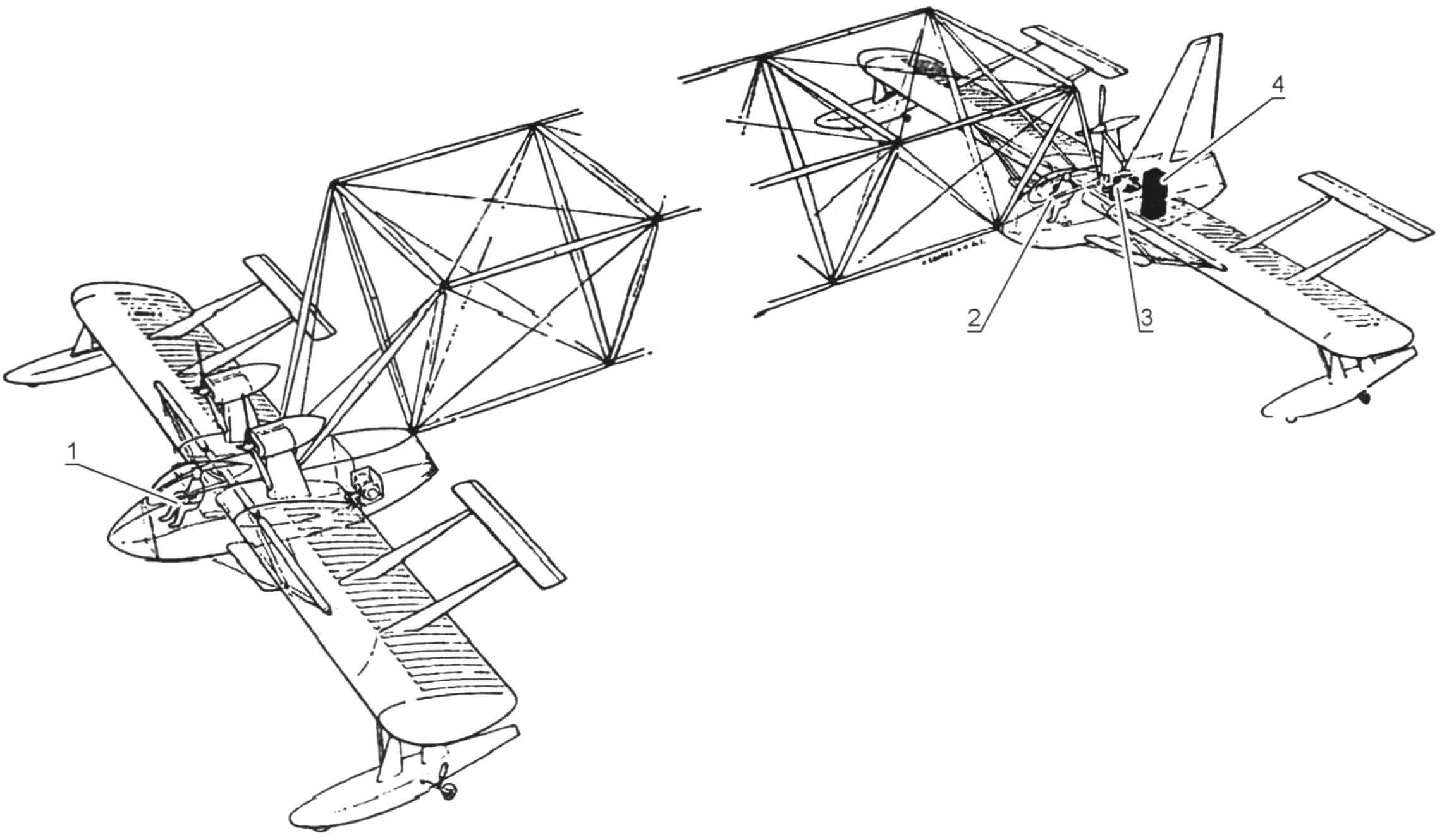 Принципиальная схема размещения экипажа и оборудования