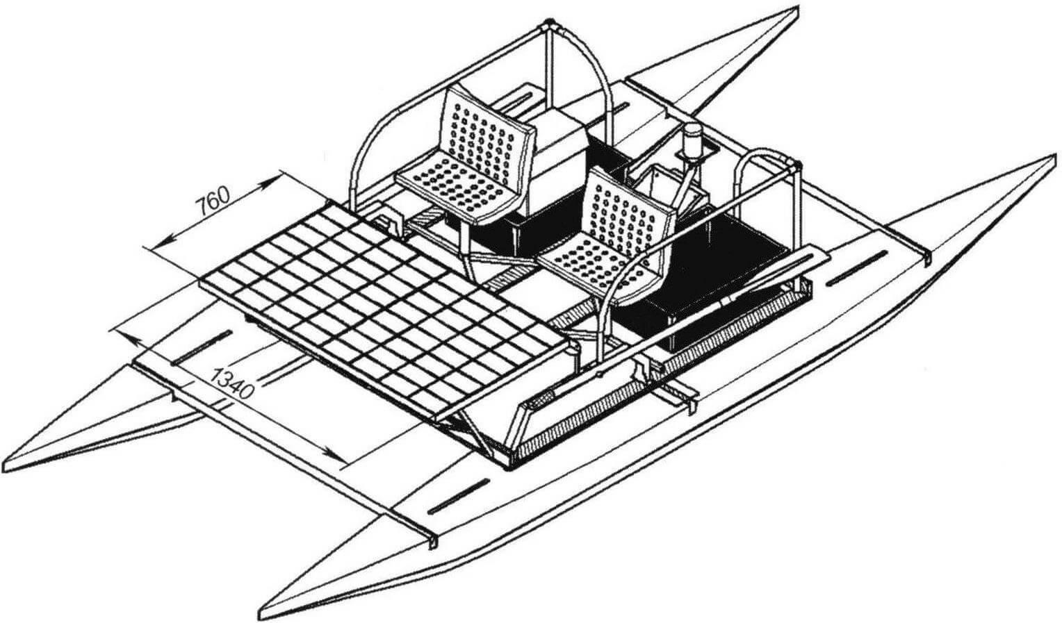 Компоновка катамарана с солнечной панелью и самодельным электромотором максимальной мощностью 300 Вт