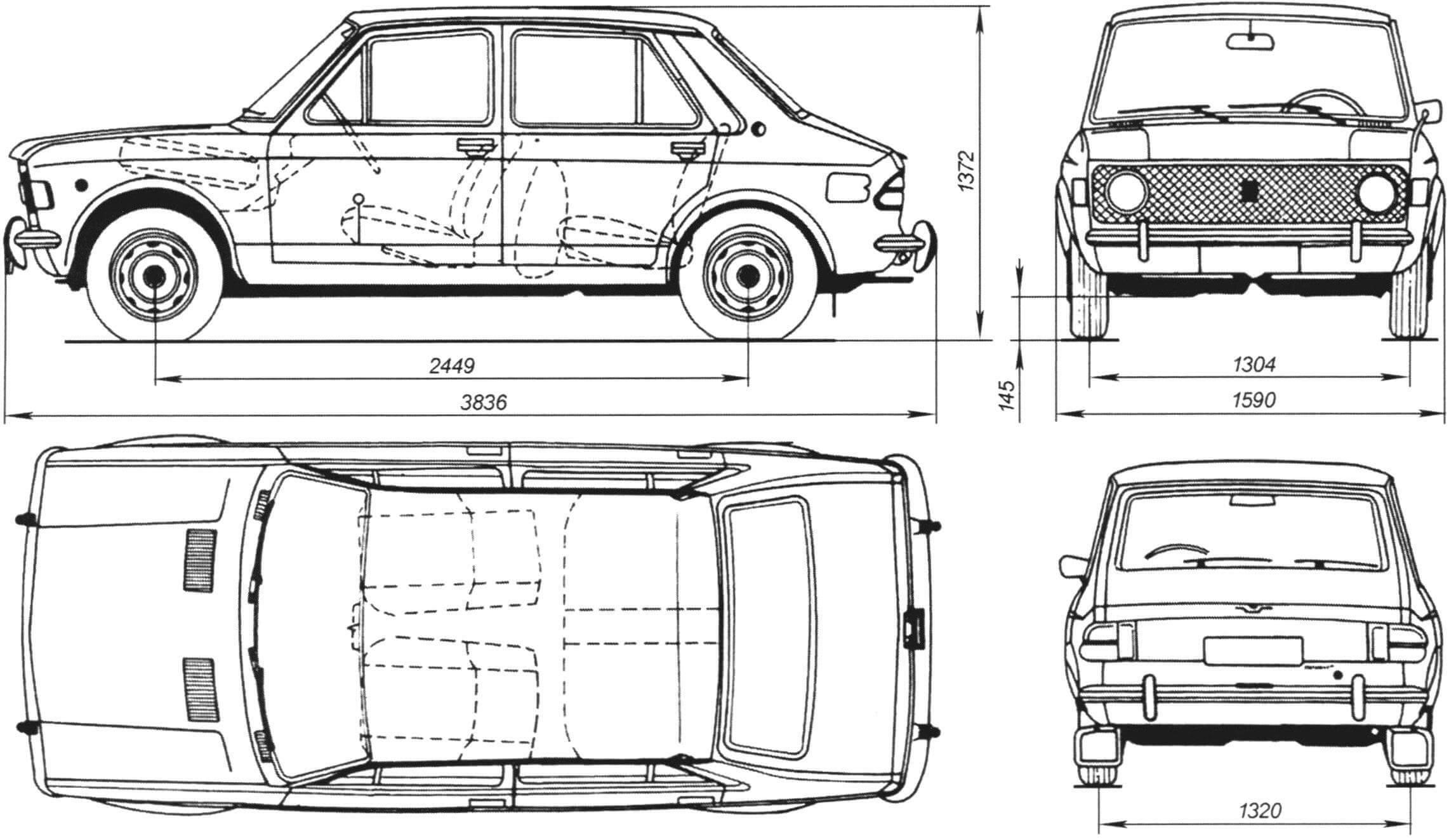 Габаритный чертеж автомобиля Zastava 101