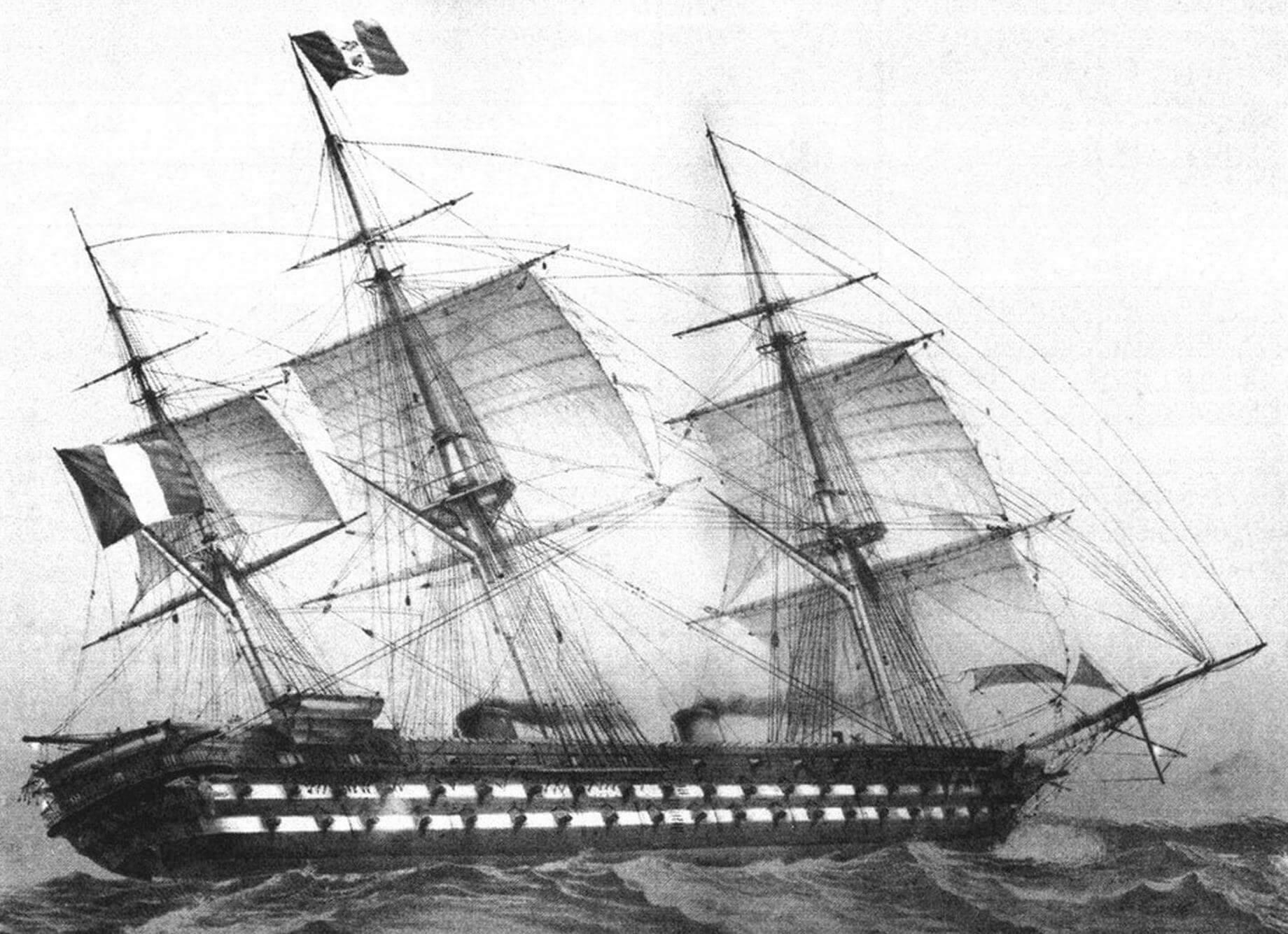 Винтовой линейный корабль «Наполеон» в море