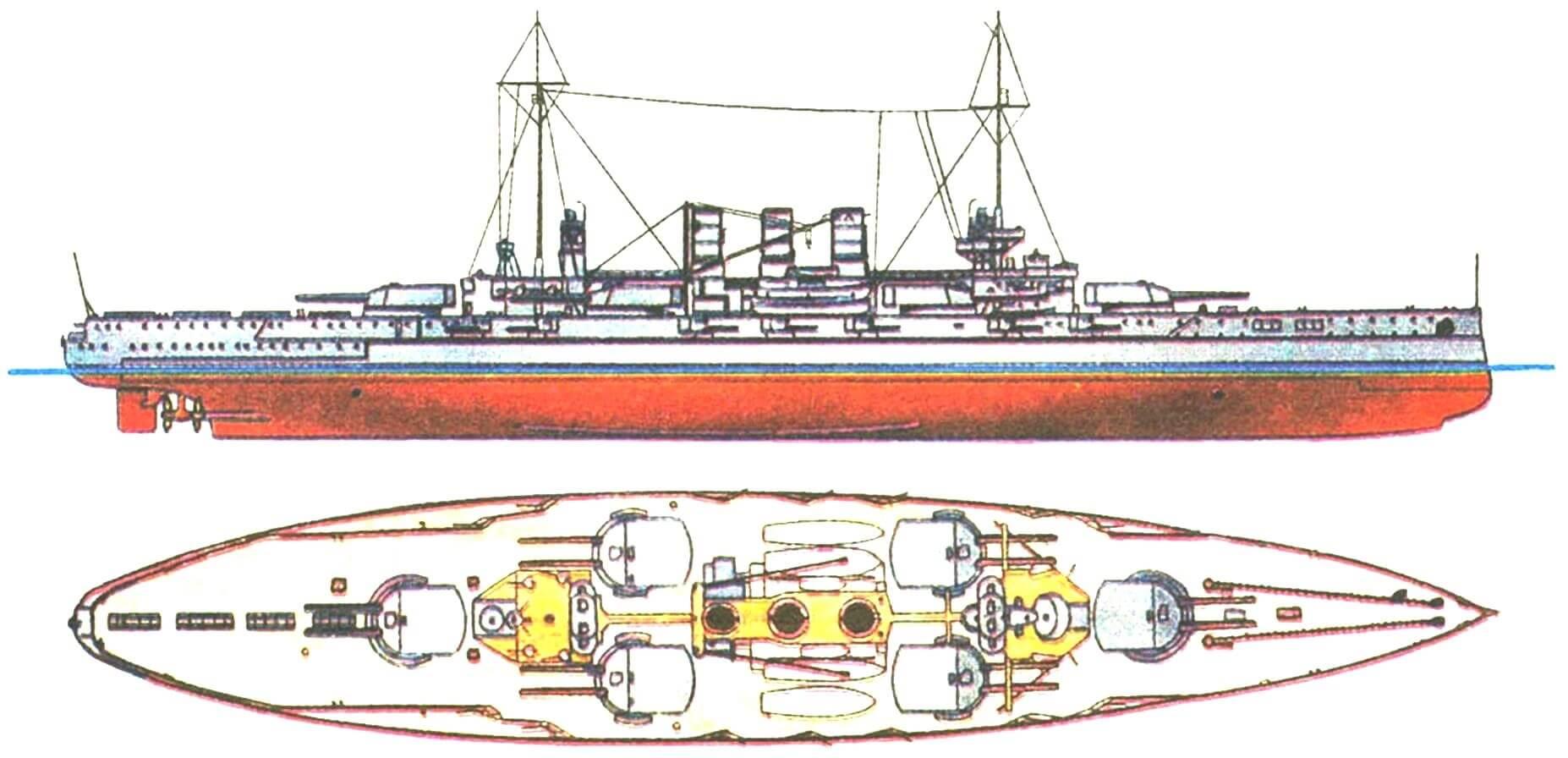 """Линейный корабль """"ГЕЛЬГОЛАНД"""", Германия, 1911 г."""