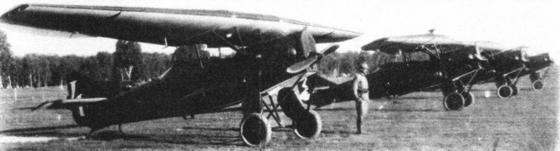 Строй Ю-21 одного из авиаотрядов ВВС РККА, 1927 г.