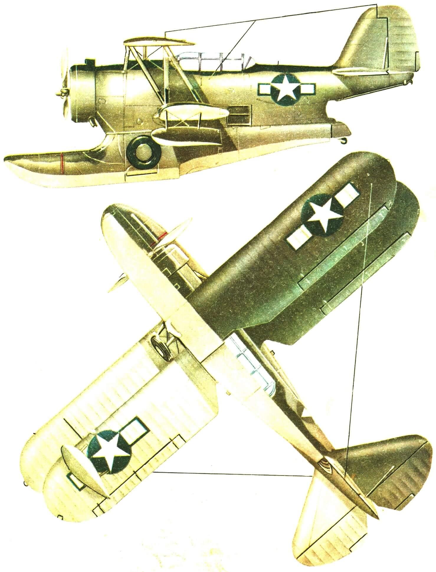 Типовая окраска гидросамолета GRUMMAN J2F-6 морской авиации США в конце второй мировой войны.