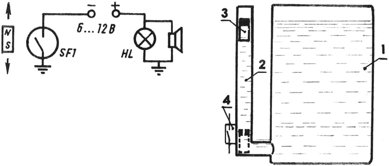 Принципиальная электрическая схема топливного сигнализатора. Принцип работы сигнализатора