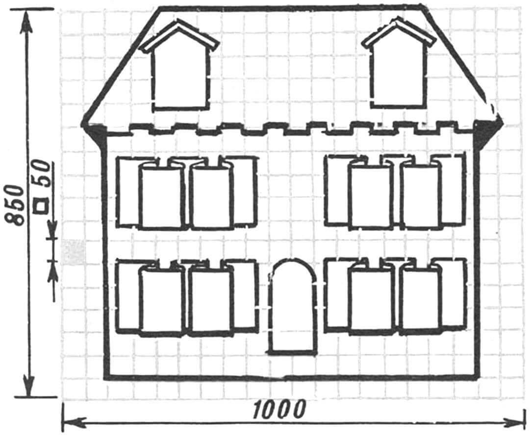 Пример тематического оформления мягкой «тумбочки» — «Домик», с карманами в виде окон на стенах и крыше