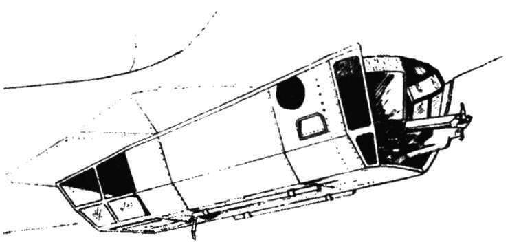 Подфюзеляжная гондола (вид со стороны пулемета)