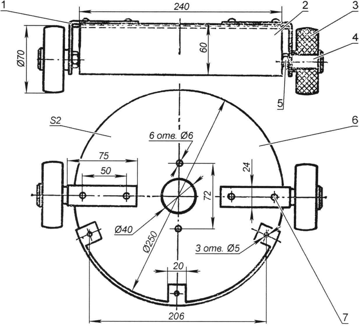 Защитный кожух для колесного варианта косилки
