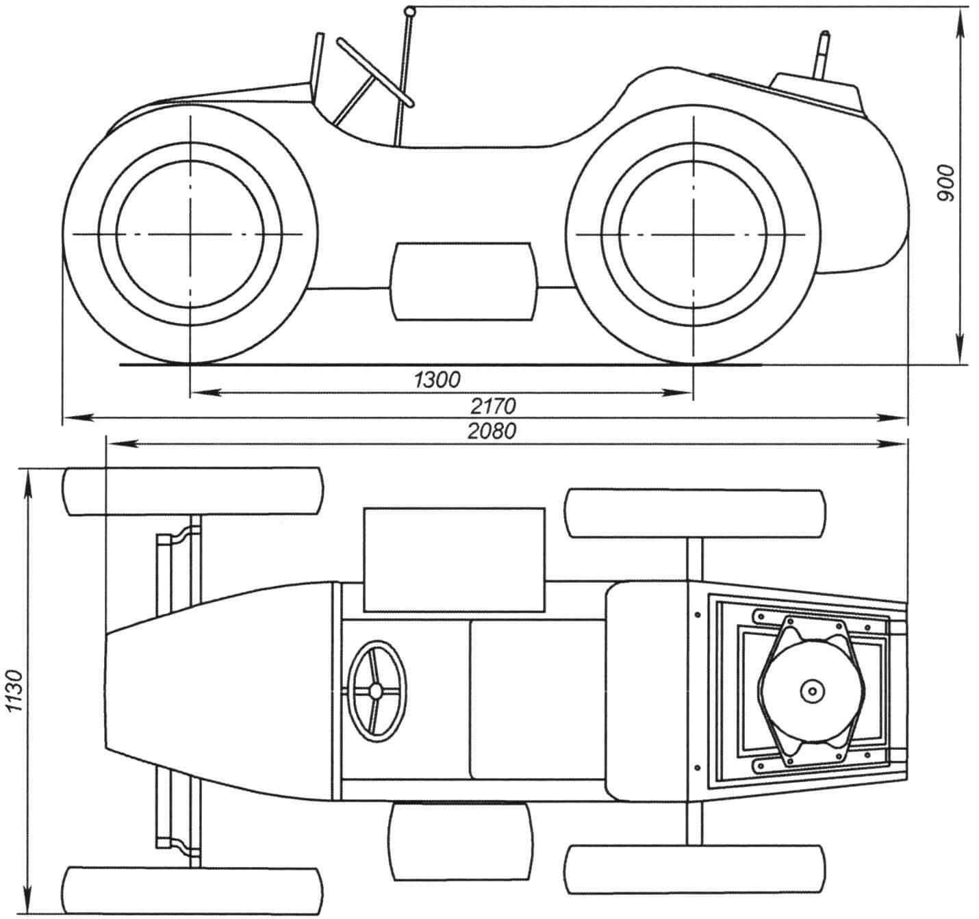 Габаритный чертеж мотомобиля. Выхлопная система и светотехника не обозначены, силовой агрегат и подвеска изображены условно
