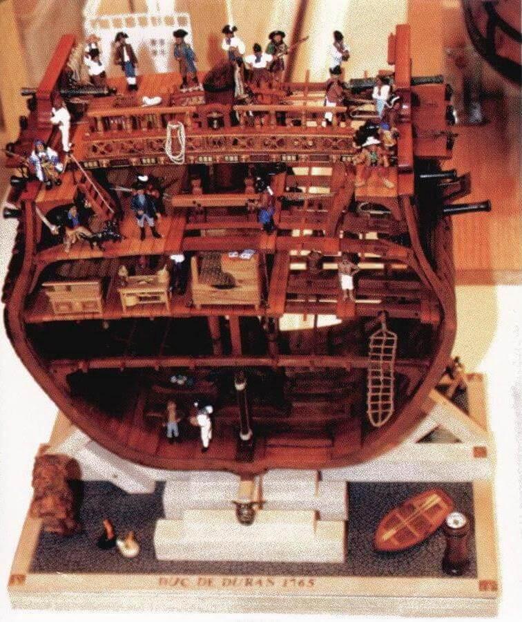 Секция корабля «Duc de Duras» привлекала всеобщее внимание не только тщательностью проработки, но и многочисленными фигурками (включая корабельного пса!)