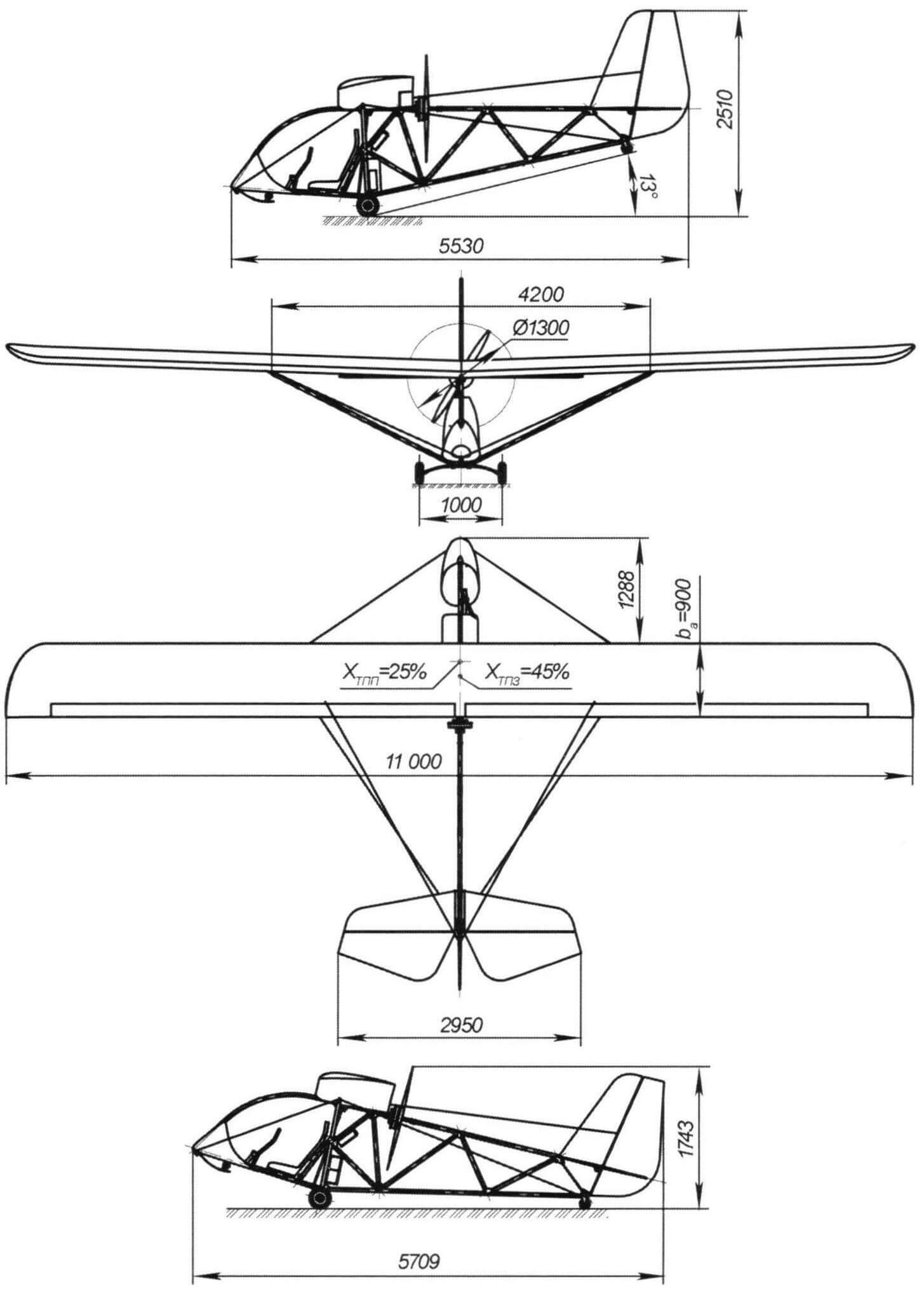 Габаритный чертеж самолета Efly-2