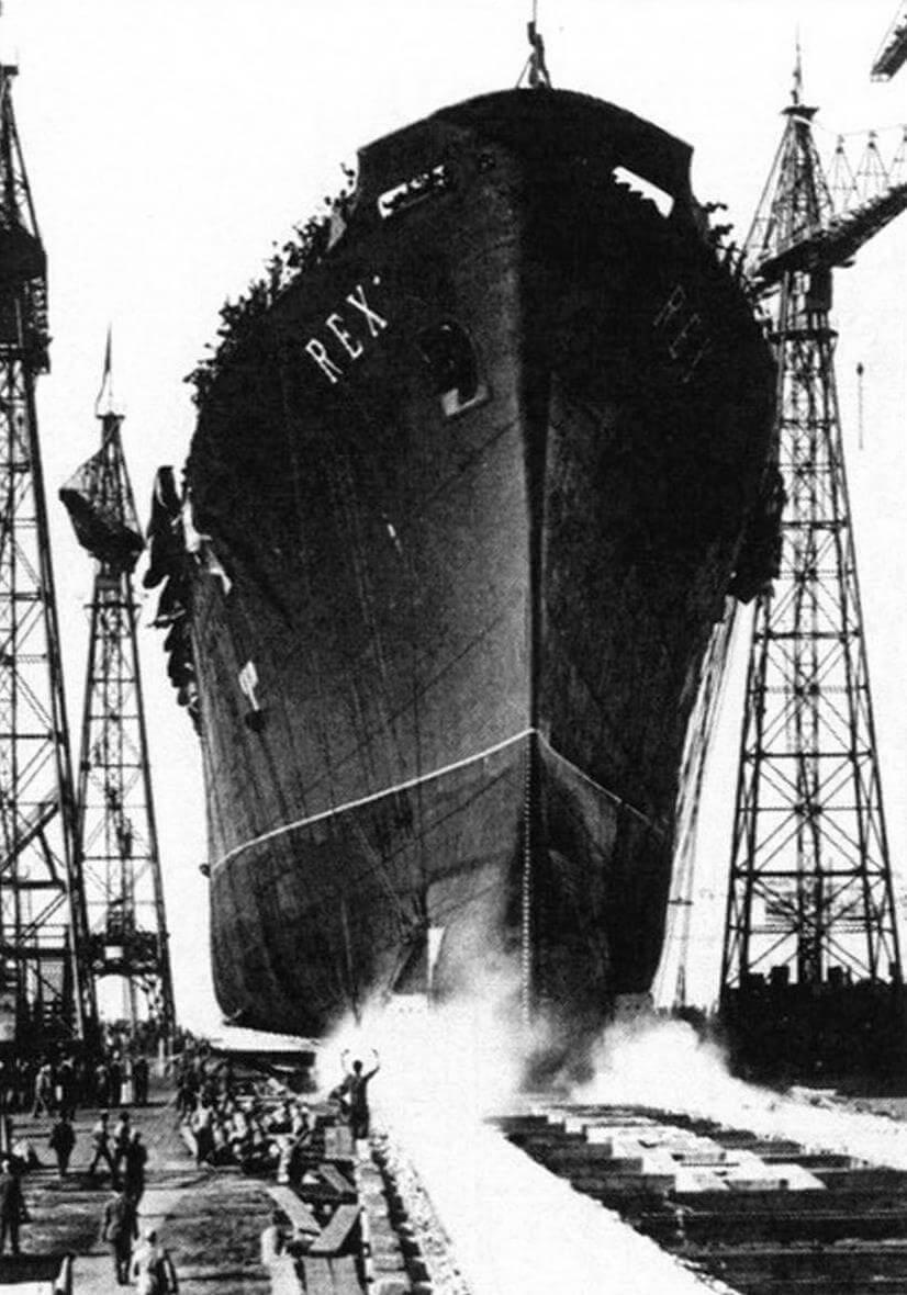 Торжественный спуск на воду суперлайнера «Рекс» 1 августа 1931 года