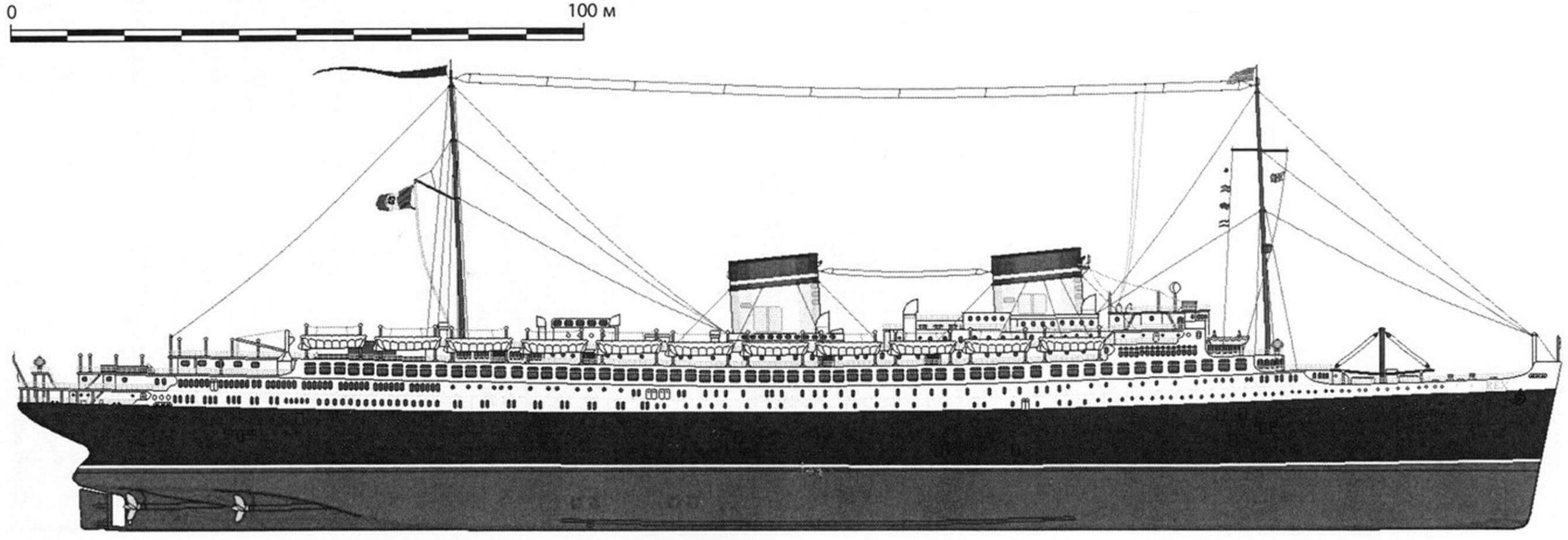 Общий вид лайнера «Рекс» по состоянию на август 1933 года