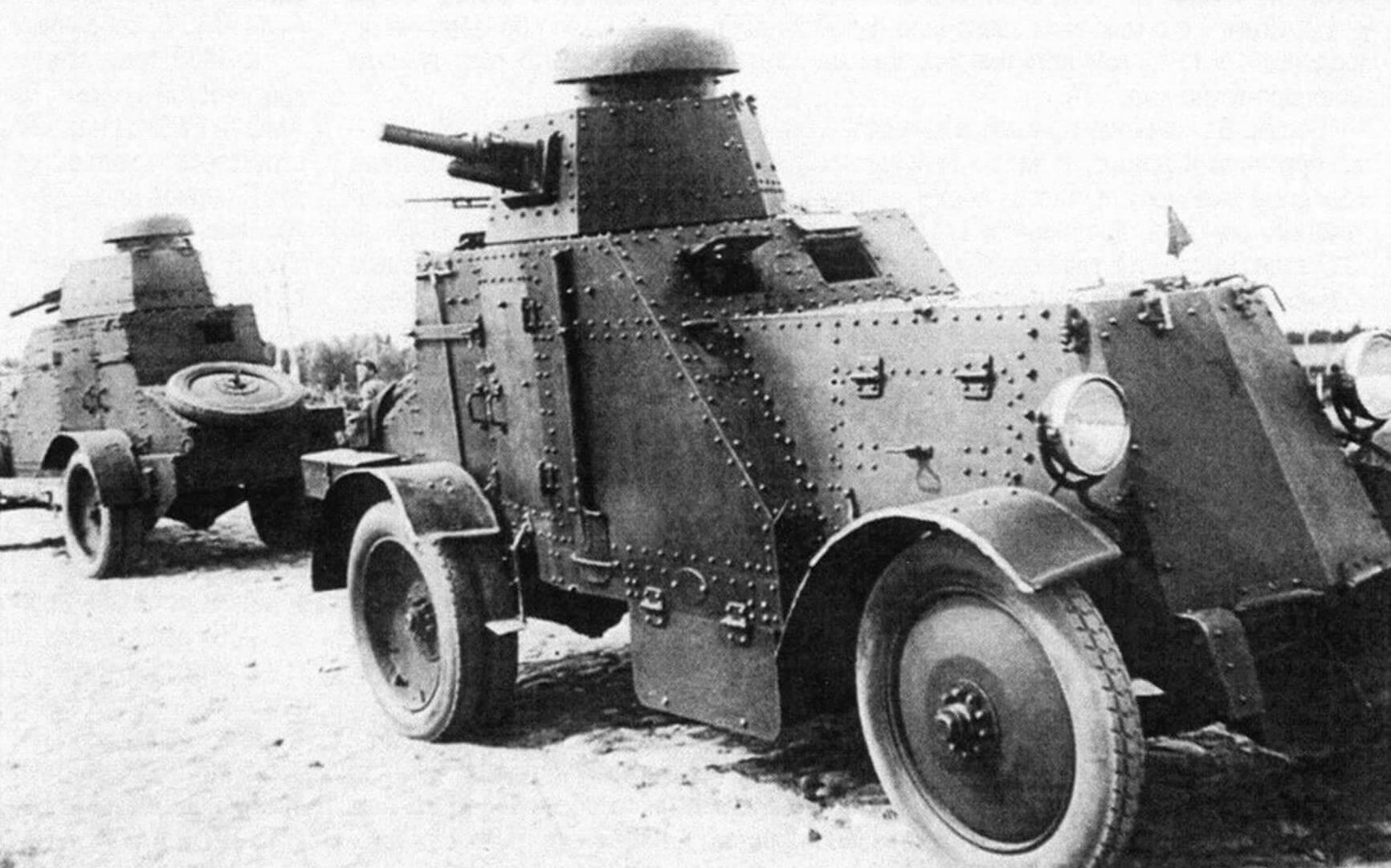 Бронеавтомобили БА-27 на маневрах. Ленинградский военный округ, 1932 год