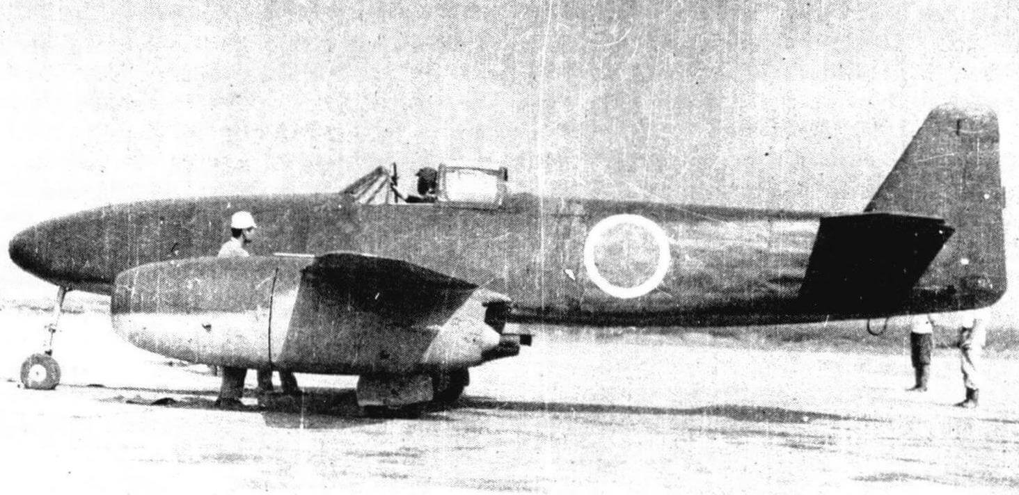 J9Y1 «Кикка» во время испытаний на авиабазе ВМФ в Кисаразу (июль 1945 года)